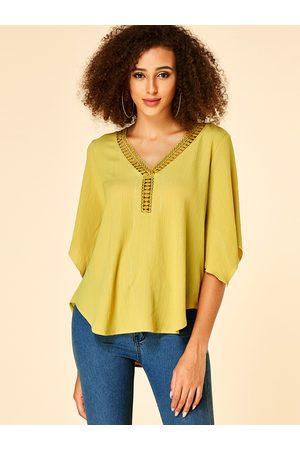 YOINS Crochet Lace Embellished Hollow Design V-neck Blouse
