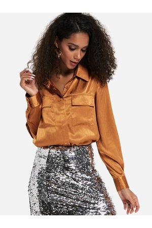 YOINS Bronze Classic Collar Button Up Front Side Pockets Suede Shirt