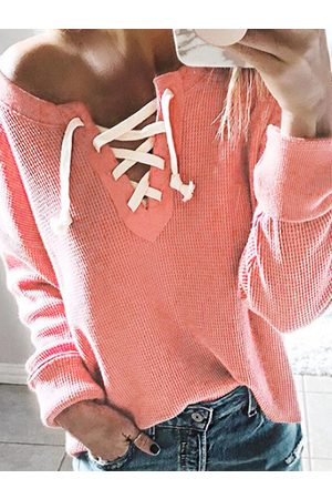 YOINS One Shoulder Lace-up Design Knit Top