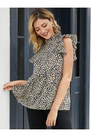 YOINS Khaki Calico Print Ruffle Trim Sleeveless Top