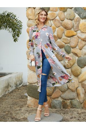 YOINS Navy Random Floral Print Striped Long Sleeves Blouse