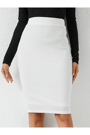 YOINS White High-Waisted Pencil Skirt