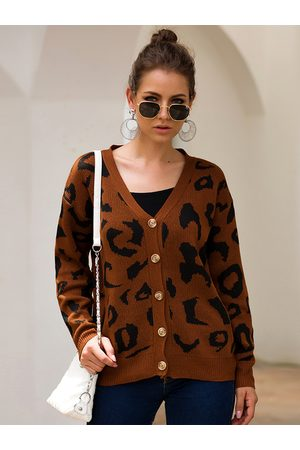 YOINS Coffee Leopard Front Button Long Sleeves Cardigan