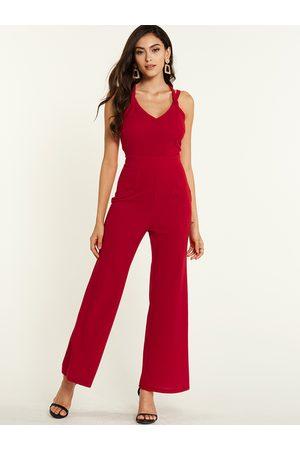 YOINS Backless Design Halter Sleeveless Jumpsuit