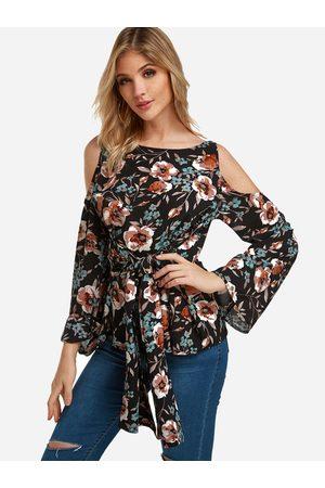 YOINS Floral Print Cold Shoulder Tie-up Front Blouses