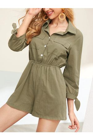 YOINS Army Green Front Wide Leg Button Long Sleeves Drawstring Waist Playsuit