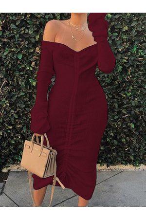 YOINS Off The Shoulder Drawstring Design Knit Dress