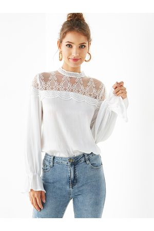 YOINS Lace Insert Long Sleeves Blouse