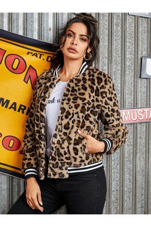 YOINS Fleece Brown Button Design Leopard Long Sleeves Coat