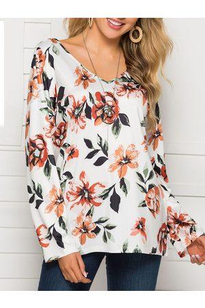 YOINS White Backless Design Random Floral Print V-neck Long Sleeves Tee