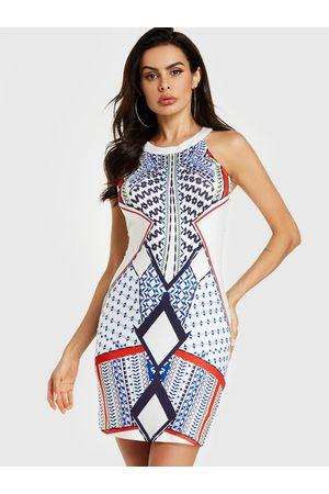 YOINS Women Printed Dresses - Geo Print Round Neck Sleeveless Mini Dress