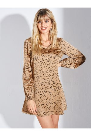 YOINS Khaki Leopard V-neck Puff Sleeves Dress