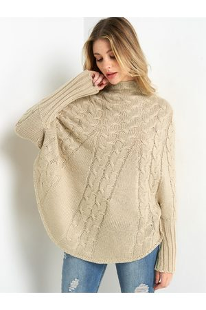 YOINS Chunky Cable Knit High-neck Poncho Sweater