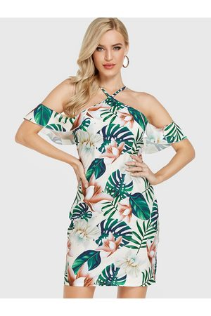 YOINS Floral Print Halter Cold Shoulder Ruffle Trim Dress