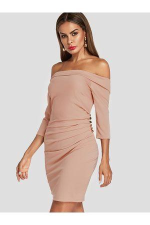 YOINS Off The Shoulder Shirred Design Bodycon Dress