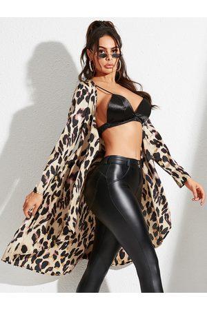 YOINS Khaki Lace-up Design Animal Deep V Neck Long Sleeves Coat