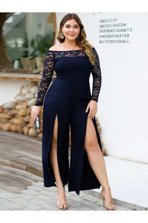 YOINS Plus Size Off The Shoulder Long Sleeves Lace Jumpsuit