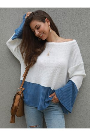 YOINS Color Blocking Wide Round Neck Long Sleeves Jumper