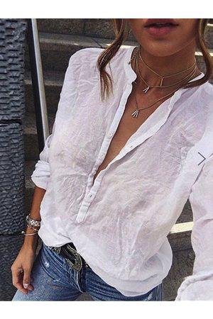 YOINS White Button Design Long Sleeves Blouse