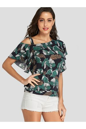YOINS Dark Blue Ruffle Trim Leaf Print One Shoulder Tee