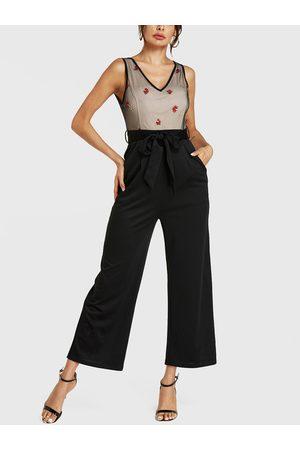 YOINS Embroideried V-neck Sleeveless Wide Leg Jumpsuit