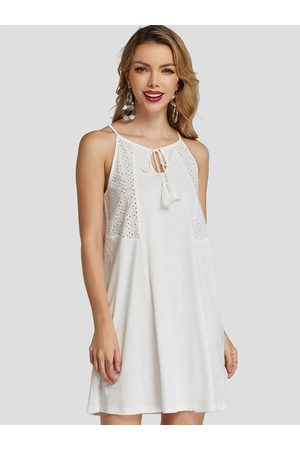 YOINS Hollow Design Plain Halter DRESSES