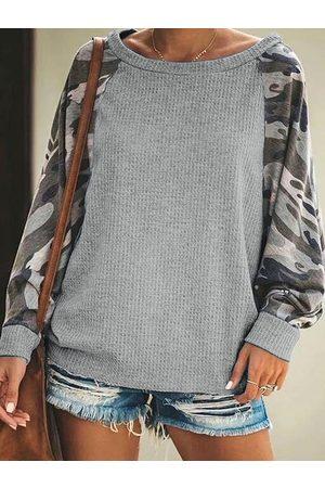 YOINS Grey Camo Round Neck Long Sleeves Tee