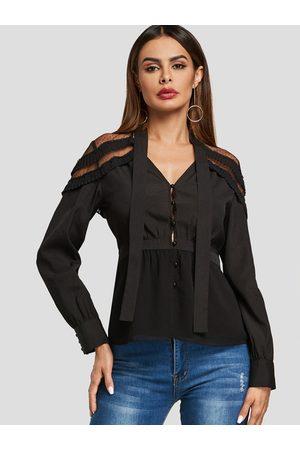 YOINS See Through Design V-neck Long Sleeves Blouse
