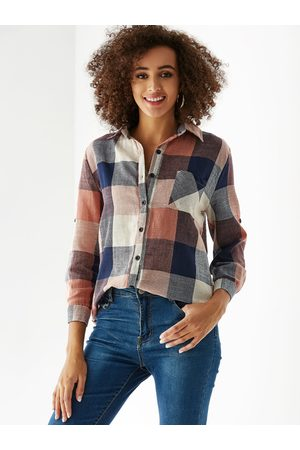 YOINS Multi Check Classic Collar Button Front Blouse