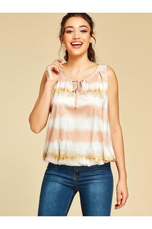 YOINS Stripe Tie-Dye Lace-up Design Tank Top
