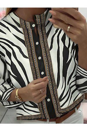 YOINS Black Zebra Stripe Round Neck Long Sleeves Coat