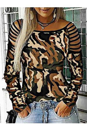 YOINS Camo Cut Out Details Boatneck Long Sleeves Tee