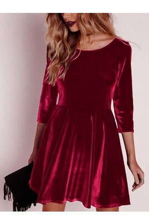 YOINS Women Dresses - Red Flannel Round Neck Long Sleeves Dress