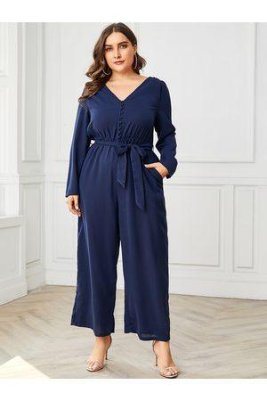 YOINS Plus Size Navy Belt Design V-neck Long Sleeves Jumpsuit