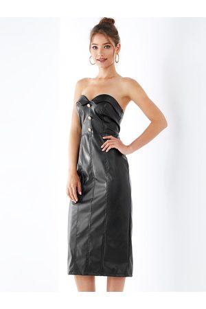 YOINS Zipper Design Strapless Faux Leather Dress