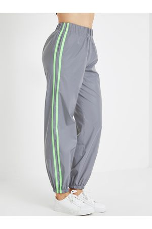 YOINS Grey Neon Color Stripe Pockets Stretch Waistband Pants