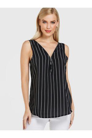 YOINS Tassel Zipper Stripe Criss-cross V-neck Top