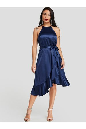 YOINS Belt Design Halter Flounced Hem Midi Dress