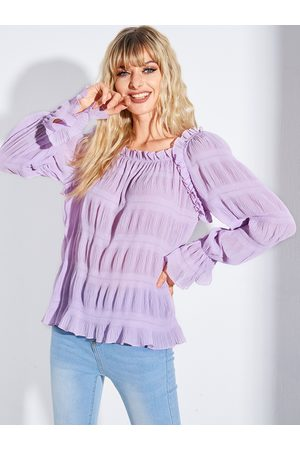 YOINS Purple Pleated Design Square Neck Bell Sleeves Blouse