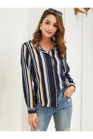YOINS Button Front Striped Classic Collar Blouse