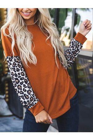 YOINS Orange Leopard Round Neck Long Sleeves Sweater