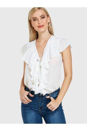 YOINS Lace-up Design Overlay V-neck Sleeveless Top