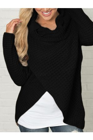 YOINS Fashion Crossed Front Design Turtleneck Long Sleeves Irregular Hem Sweaters