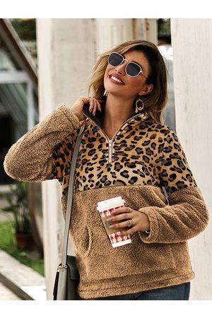YOINS Leopard Patch Design Teddy Sweatshirt