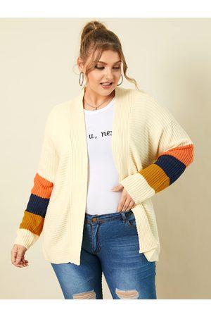 YOINS Plus Size Color Block Long Sleeves Cardigan