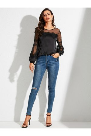 YOINS Black Cut Out Patchwork Round Neck Long Sleeves Blouse