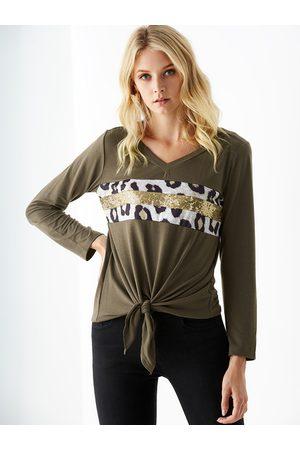 YOINS Sequins Embellished Design V-neck Long Sleeves Tee