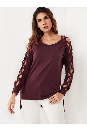 YOINS Lace-up Design Round Neck Long Sleeves Tee