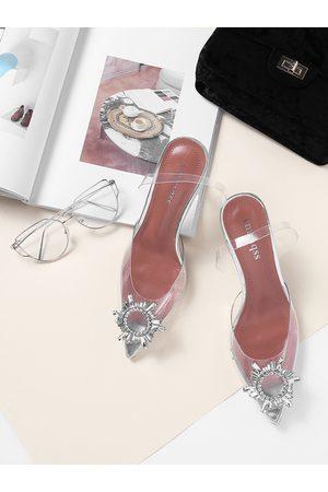 YOINS Sliver 7 CM Cat-heel Crystal High Heeled Sandals