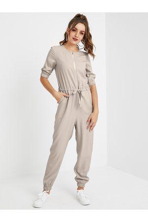 YOINS Apricot Zip Design Half Sleeves Drawstring Waist Jumpsuit